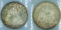 Us Coins - USA - 1861 Seated Liberty Half Dollar, ANACS AU-55