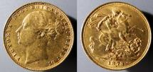 World Coins - Australia gold sovereign, 1873-M - St. George tangling with a dragon