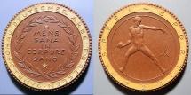 World Coins - German brown gold gilded porcelain medal - 1923 - Dresden- Jahresschau Deutscher Arbeit