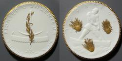 World Coins - German gold gilded white porcelain medal -  1923 - Saxony - Engineers & Pioneers celebration