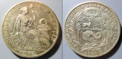 World Coins - Peru 1893, large silver Sol AU