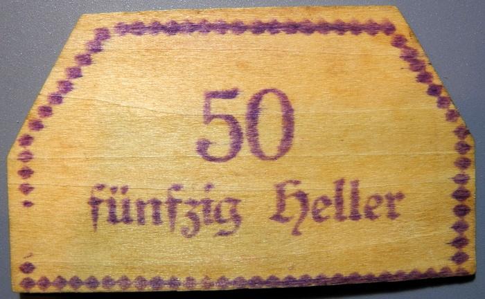 World Coins - Austria Wood Notgeld, Zell bei Zellhof, private, Ludwig Altzinger - 50 pfennig