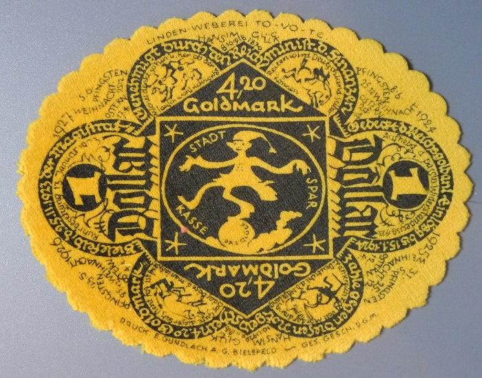 World Coins - German emergency money printed on velvet - 4,20 goldmark - 1 Dollar