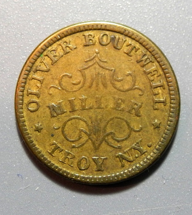 US Coins - Civil War token - store card - Oliver Boutwell, Miller, Troy NY - 1863