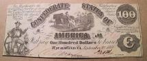 Us Coins - Confederate States of America currency, 100 dollars, Richmond VA, September 2, 1861