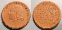 World Coins - German brown porcelain medal - Nicolas Ludwig von Zinzendorf - 1922