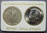 Us Coins - Lake County Federal Savings & Loan Assn, 2 coin half dollar set - 1917 & 1967 - #1