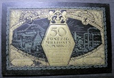 World Coins - very scarce German currency printed on black leather - 50 MILLION MARKS, Possneck