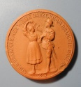 World Coins - German orange brown porcelain medal - Solbad, Schwabisch Hall, 40mm