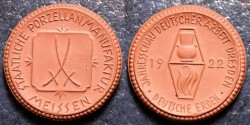 World Coins - German brown porcelain medal - Dresden, 1922