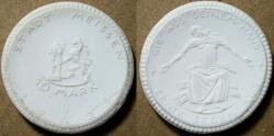 World Coins - German white porcelain coin, Meissen 10 Marks - 1921