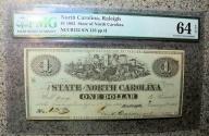 Us Coins - Civil War Currency - North Carolina  - $1 - 1863 - PMG 64 EPQ