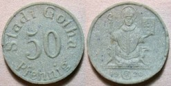 World Coins - German blue grey German porcelain notgeld, Gotha 50 pfennig