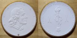 World Coins - German gold gilded white porcelain medal - Schiller commem, rare!