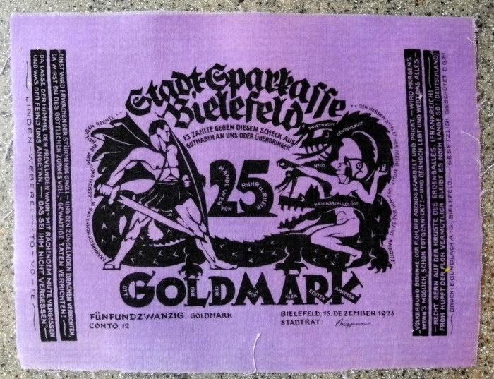 World Coins - German emergency money printed on velvet - 25 goldmark - purple