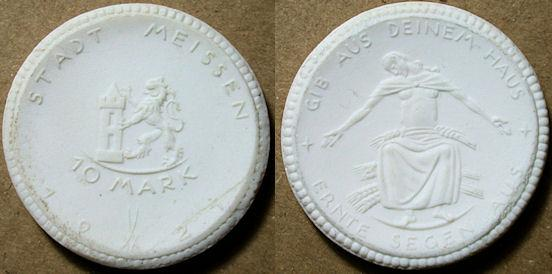 World Coins - German white porcelain coin, Meissen 10 Marks - 1921