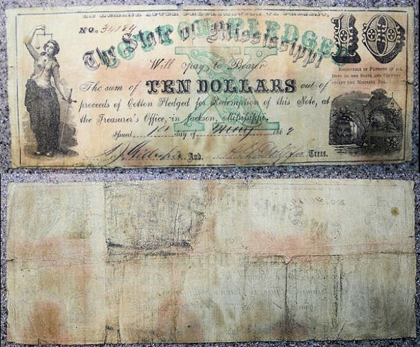 US Coins - Obsolete currency, Civil War era, Mississippi, 10 dollars - circulated