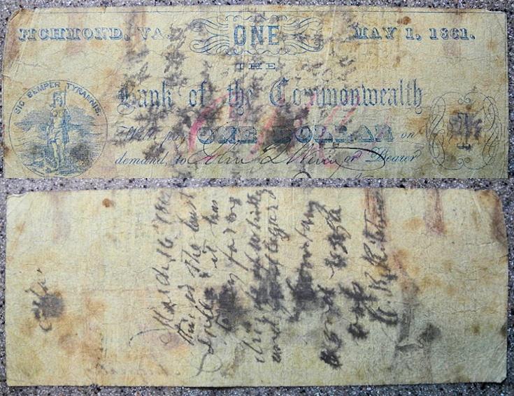 US Coins - wonderful 1862 one dollar obsolete currency of Richmond, VA
