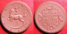 World Coins - German brown porcelain medal - German Stamp Collector's Day 1923