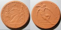 German brown porcelain medal - skiing, gipsform