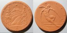 World Coins - German brown porcelain medal - skiing, gipsform