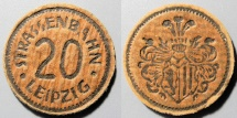 World Coins - German streetcar token made from compressed paper - 20 pfennig, Leipzig