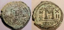 Ancient Coins - Maurice Tiberius, 582-602 AD, AE follis - Year 12, Antioch