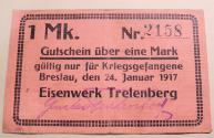World Coins - German WWI POW camp linen currency - Eisenwerk Trelenberg -- Breslau 1917
