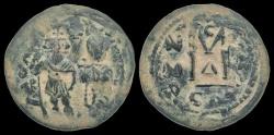 Ancient Coins - Byzantine bronze, Heraclius, 610-641 AD, AE follis with Heraclius Constantine
