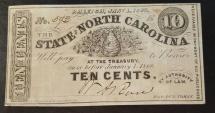 Civil War currency - North Carolina 10 cents