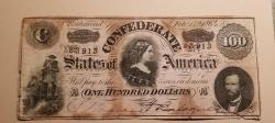 Us Coins - Confederate Currency, 1864, $100 stained with the blood of the Confederacy