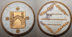 World Coins - German white & gilded porcelain medal - 700 year Sohland