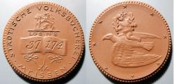 World Coins - German brown porcelain medal - library funding token - #37174