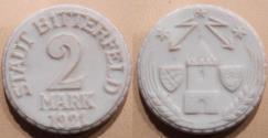 World Coins - German porcelain / clay coin, Bitterfeld, 1921 - non-Meissen manufacture