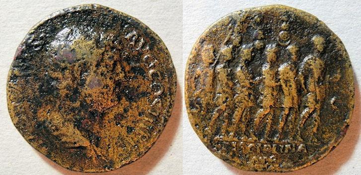 Ancient Coins - rare Hadrian sestertius, 117-138 AD, DISCIPLINA reverse