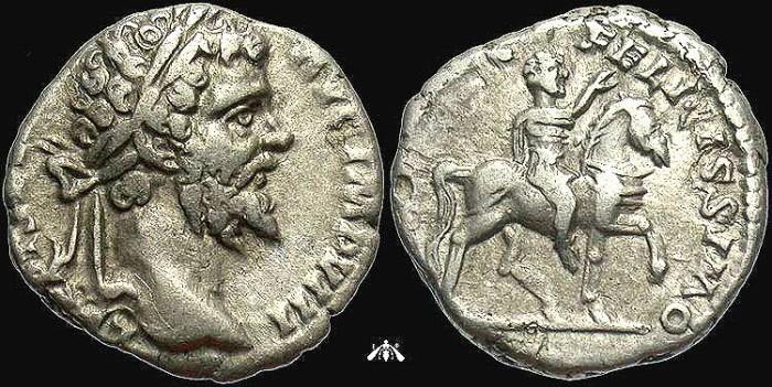 Ancient Coins - Septimius Severus, AR Denarius, Severus on Horseback Reverse