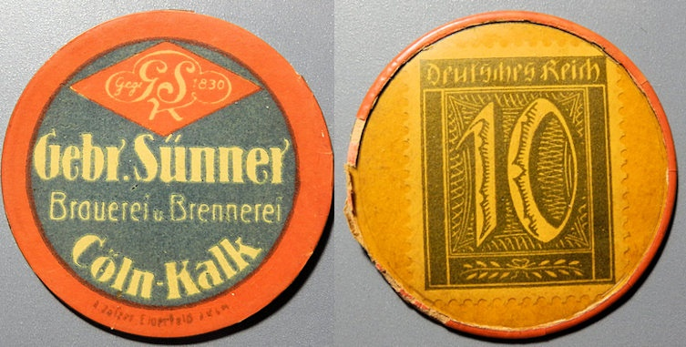 World Coins - German encased postage - Gebr. Sunner, Coln-Kalk, 10 pfennig