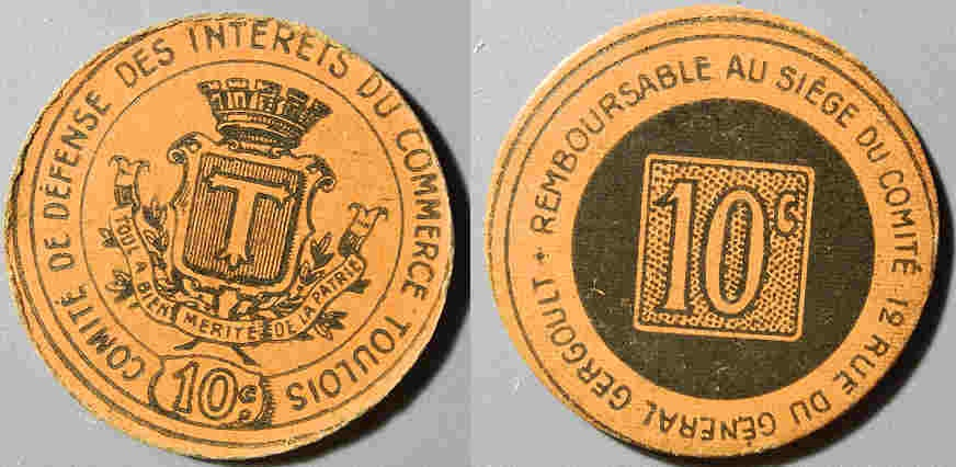 World Coins - French emergency money - 1917, Toulouse - 10 centimes