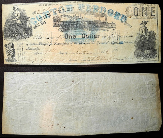 US Coins - Obsolete Currency - USA - Mississippi - 1862 - 1 Dollar