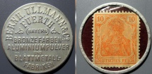 World Coins - Briefmarkenkapselgeld, Fuerth, Bernh. Ullman - 10 pfennig (encased postage)
