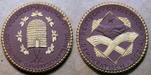 World Coins - German brown gold gilt porcelain medal - bee hive