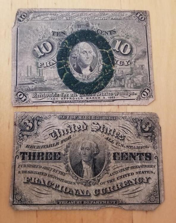 2 Fractional currency notes, 3 cents & 10 cents - circulated