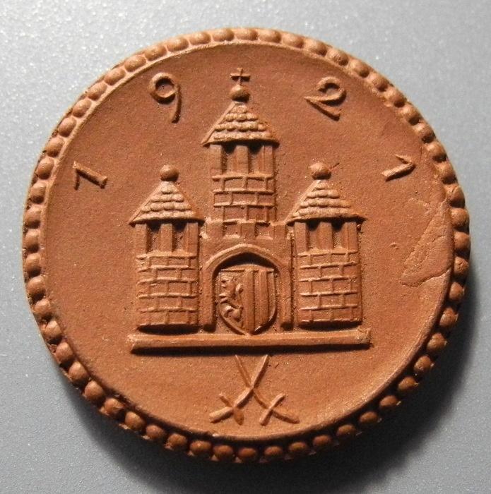 World Coins - German brown porcelain coin, Freiberg - 1 Mark