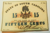 Us Coins - almost unc State of South Carolina, 15 cents 1863, Civil War Currency