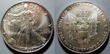 Us Coins - American Silver Eagle - 1997, bright, attractive - US Mint issue silver coin