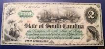 Us Coins - State of South Carolina, 1873, 2 dollars obsolete currency - cut canceled