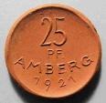 World Coins - German porcelain coin - brown, Amberg 1921, 25 pfennig