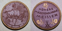 World Coins - German gilded porcelain medal 1921 Hohere Madchenschule