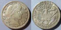 Us Coins - USA - Barber quarter, 1908, VF or better