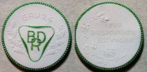 World Coins - German white with green gilding porcelain medal - bicycling achievements